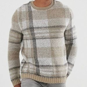 ASOS DESIGN oversized textured check beige sweater